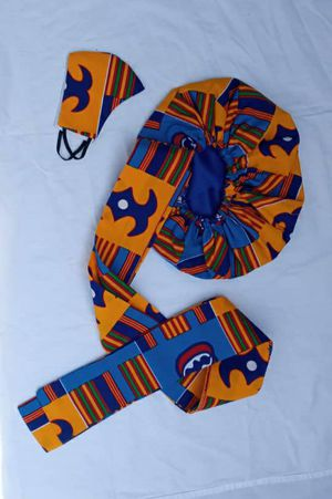 African print kente type headwrap and face masks set for Sale in Baltimore, MD