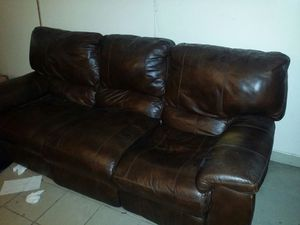 Brown leather recliner sofa for Sale in Dearborn, MI