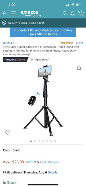 Ubeesize selfie tripod for Sale in Elyria, OH