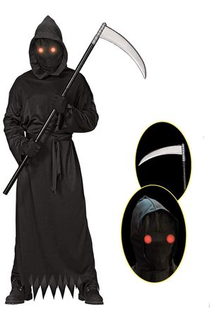 Grim Reaper Halloween Costume with Glowing Red Eyes for Kids, Scythe Included for Sale in El Monte, CA