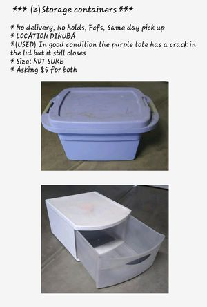 (USED) Storage containers $5 for both for Sale in Dinuba, CA