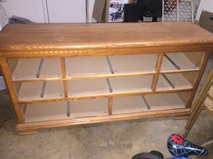 Wooden bedroom set (8-drawer dresser with mirror & storage closet). for Sale in Tulare, CA