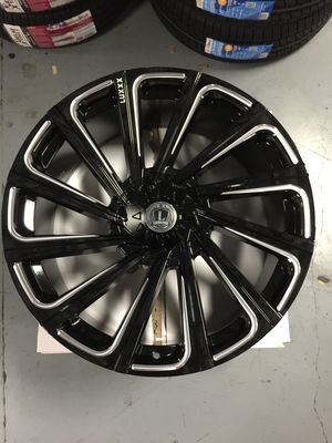 """18"""" Inch Brand New Lux 22 Gloss Black Milled 18X8 Wheels Rims 6X115 6X120 GMC Canyon Chevy Colorado for Sale in Austin, TX"""