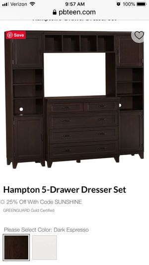 Bedroom dresser with side pier cabinets and bridge connector. Bought from Pottery Barn Teen for the storage features. Paid over $2000, used for three for Sale in Gilbert, AZ