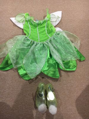 Tinkerbell costume with shoes size 3T shoes size 7/8 for Sale in Westerville, OH
