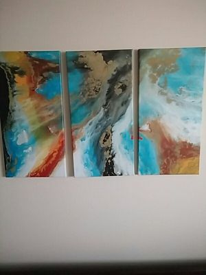 3 piece abstract painting for Sale in Warminster, PA
