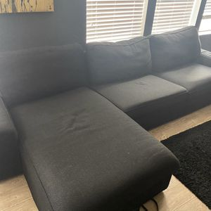 IKEA Couch (black w/chaise) for Sale in Falls Church, VA