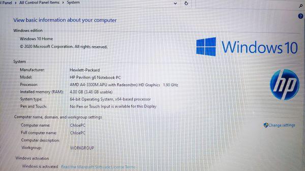 "HP laptop 15.6"" display, 4gb RAM, 500gb HDD, windows 10"