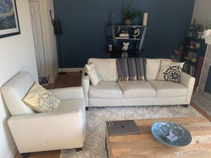 White sofa set: 3 person couch + recliner for Sale in South San Francisco, CA