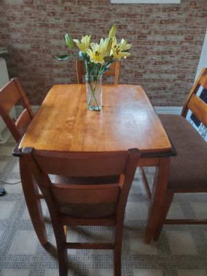 High top wood dining table w/drawers 3 chairs and a bench for Sale in St. Louis, MO