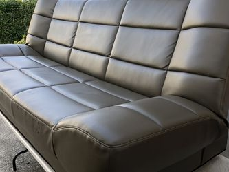 """Leather Sofa 🛋 Futon 🛌 With Storage Gary Color, very comfortable In Excellent Condition Like New. 75"""" W x 32"""" D x 31"""" H for Sale in La Mesa,  CA"""