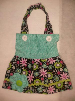 New Handmade Apron Dress Girl Baby Bib 0-6mo Teal Black Flowers for Sale in Affton, MO