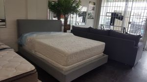 Gray fabric bed frame (clearance) for Sale in US