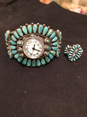 Beautiful Zuni Sterling silver and turquoise cuff watch and matching ring size 8 genuine turquoise for Sale in Pueblo West, CO