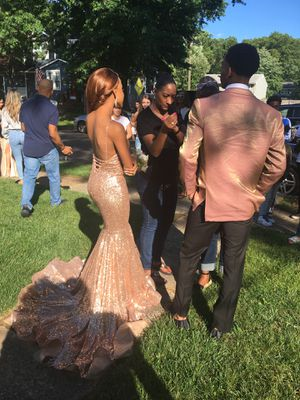 Clarisse rose gold shimmery prom dress for Sale in Springfield Township, NJ