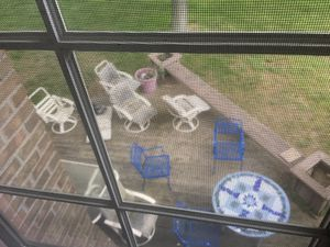 White patio set with 5 chairs and glass 7 ft table for Sale in Caledonia, MI