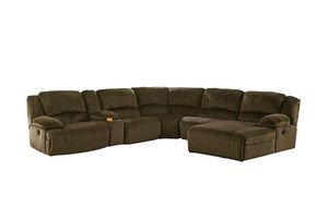 6 piece Ashley Chocolate chaise with recliner sectional couch for Sale in New York, NY