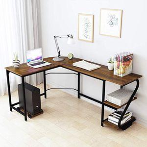 BRAND NEW WeeHom Reversible L Shaped Desk with Shelves (DARK TEAK) for Sale in Doral, FL