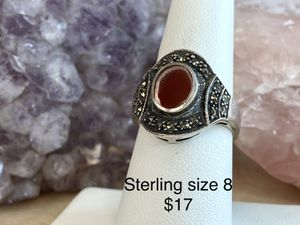 Sterling silver ring red stone for Sale in Waynesboro, PA