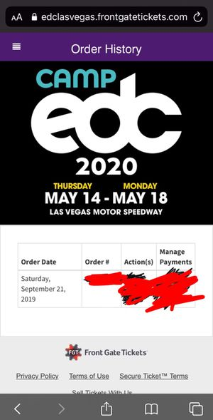 EDC 2020 Las Vegas GA+ for Sale in Rialto, CA