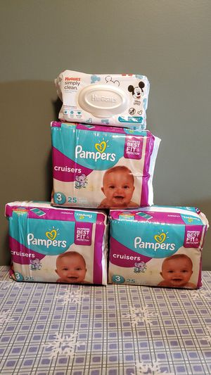 Pampers cruisers size 3 and Huggies wipes for Sale in South Attleboro, MA