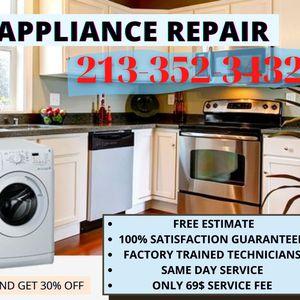 Appliance Repair & Installation - Dryer/ Washer, Dishwasher, Refrigerator, Freezer, Oven, Stove, Range for Sale in Whittier, CA
