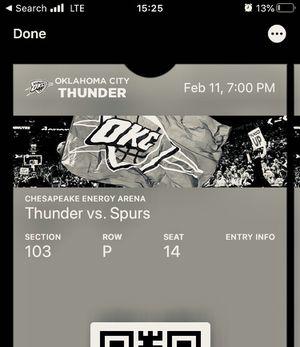 Thunder Vs. Spurs for Sale in Oklahoma City, OK