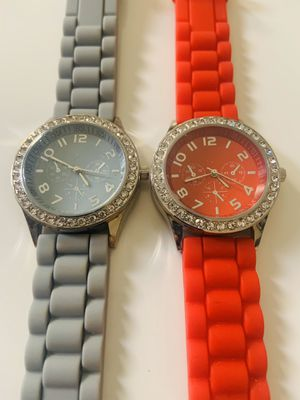 Darice Ladies Watch Quartz, Red & Gray Face Silver Dial Crystal Bezel,Chronograph looks for Sale in Las Vegas, NV