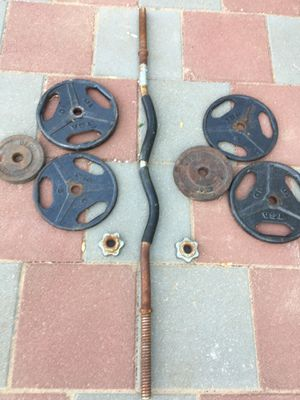 Standard curb Bar 4 feet with 40 lbs weights for Sale in Stockton, CA