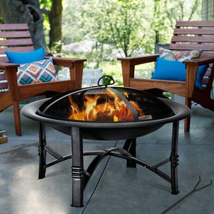 New in box 32x32 inches square outdoor patio fire pit heater with safety lid mesh cover wood charcoal burning for Sale in La Mirada, CA