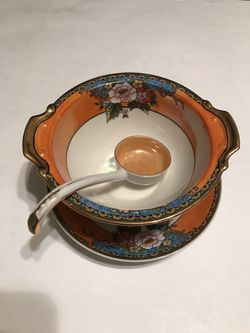 Vintage 3 Piece Noritake Porcelain Soup Bowl Set with Saucer and Spoon for Sale in San Angelo,  TX