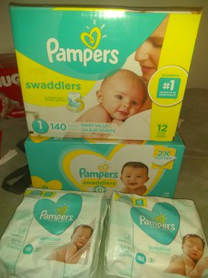 PAMPERS SWADDLERS size 1 & 2 and wipes for Sale in Mesa, AZ