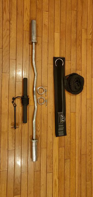 Olympic curl bar + SKLZ recoil 360 + forearm recoil for Sale in North Andover, MA