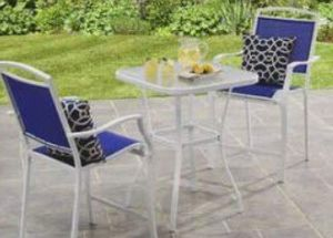 New!! Mainstays 3 piece high bistro set, blue and white ,outdoor bar set, bistro table, patio furniture for Sale in Phoenix, AZ