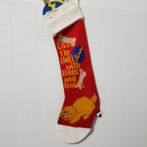 Christmas Red Dog Stocking Deck the Halls with Bones & Balls for Sale in Brookfield, IL