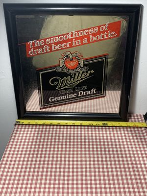 Miller High Life Mirror Vintage 1980s all Original Glass mirror Beer Wall Bar Art for Sale in King of Prussia, PA