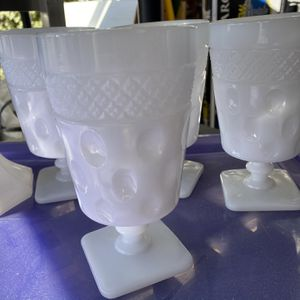 Milk Glasses X 4 And 2 Candlesticks for Sale in Los Altos, CA