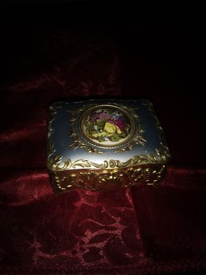 Vintage Victorian trinket box. Enameled scene on top. Red velvet lined for Sale in Madison Heights, VA