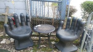2 black hand chairs & a wine table for Sale in Columbus, OH