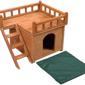 Brand New2-Story Wooden Dog House Waterproof Wood for Cat Kitten Puppy with Stairs Balcony for Sale in Los Angeles, CA