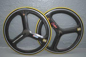 Cannondale Zeal Carbon Fiber Wheelset Tri Spoke 650c W/tires cassette for Sale in New York, NY