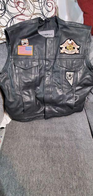 Unik premium motorcycle leather vest for Sale in North Las Vegas, NV