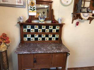 Antique tiled wash stand cabinet for Sale in Huffman, TX