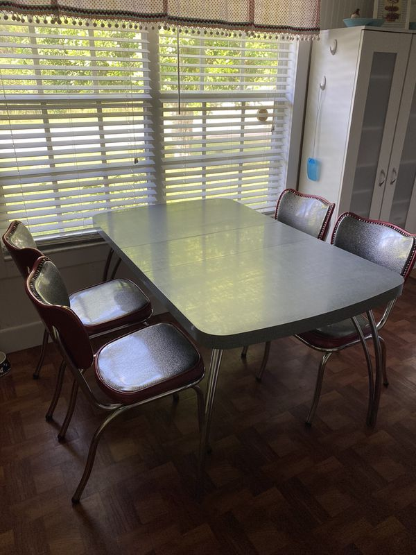Vintage Dinette Table Chairs Chrome Formica MCM Red Gray