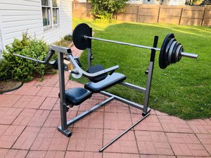 Bench Press - Olympic Bar - Olympic Weights - Work Out - Exercise - Gym Equipment - Training for Sale in Naperville, IL