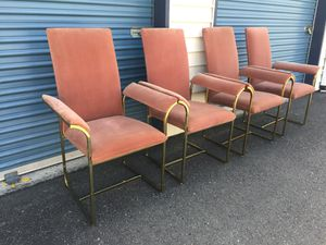 4 - Vintage Milo Baughman High Back Brass and Velvet Captain Chairs for Sale in Kirkland, WA