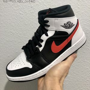 Jordan 1 Mid Black Chile Red White Size 8.5 / 9 / 9.5 / 10.5 for Sale in Las Vegas, NV