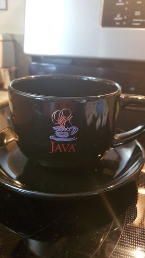 "Black Capacinno/Coffee Extra Lg. ""Java"" Cup and Saucer/6"" Plate for Sale in Santee, CA"