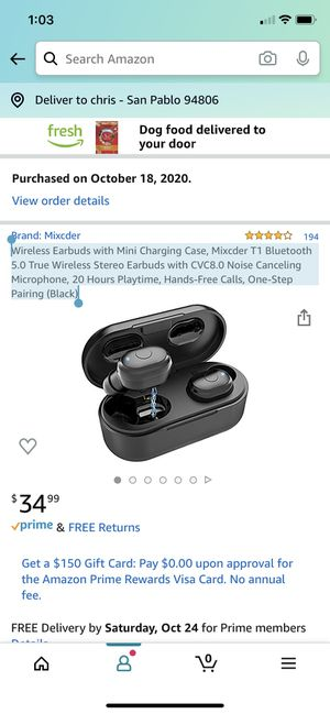 Wireless Earbuds with Mini Charging Case, Mixcder T1 Bluetooth 5.0 True Wireless Stereo Earbuds with CVC8.0 Noise Canceling Microphone, 20 Hours Play for Sale in Richmond, CA