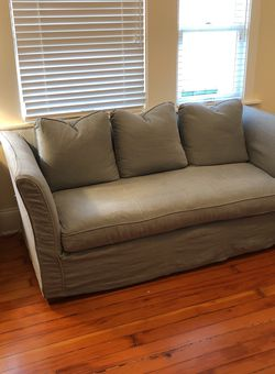 "Sleeper sofa with McCroskey mattress. Belgian Linen slipcover.H 32 ""D34""L74"" for Sale in Oakland,  CA"